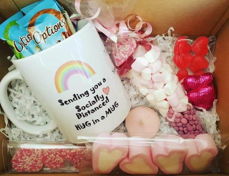 Personalised Social Distance Hug In A Mug Gift Box