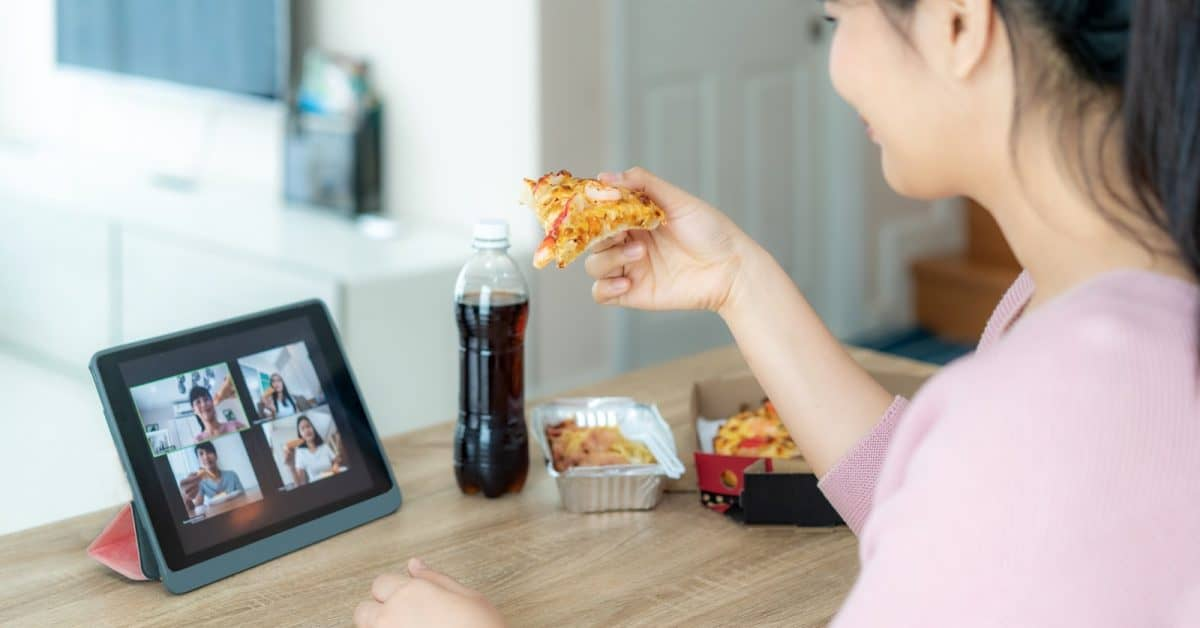 Virtual bachelorette party- woman toasting with pizza