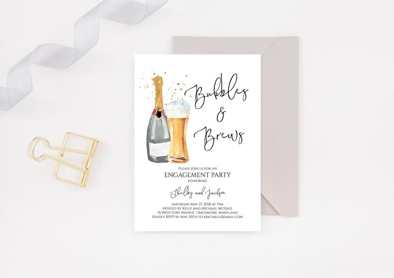 Bubbles and Brews Engagement Party Invitation Editable | Etsy