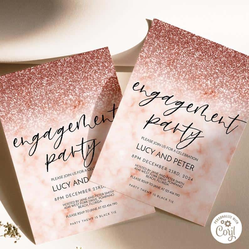 Rose Glitter Invitation Virtual Engagement Party Invitation