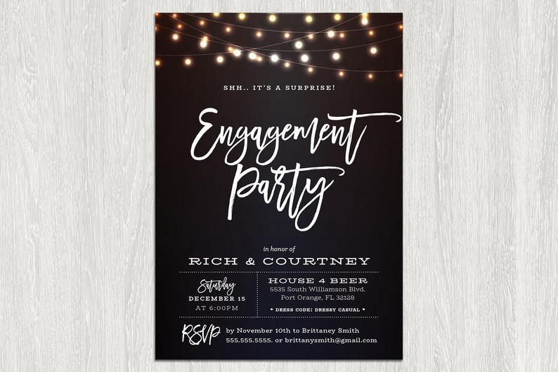 Engagement Party Invitation Lights Engagement Party | Etsy