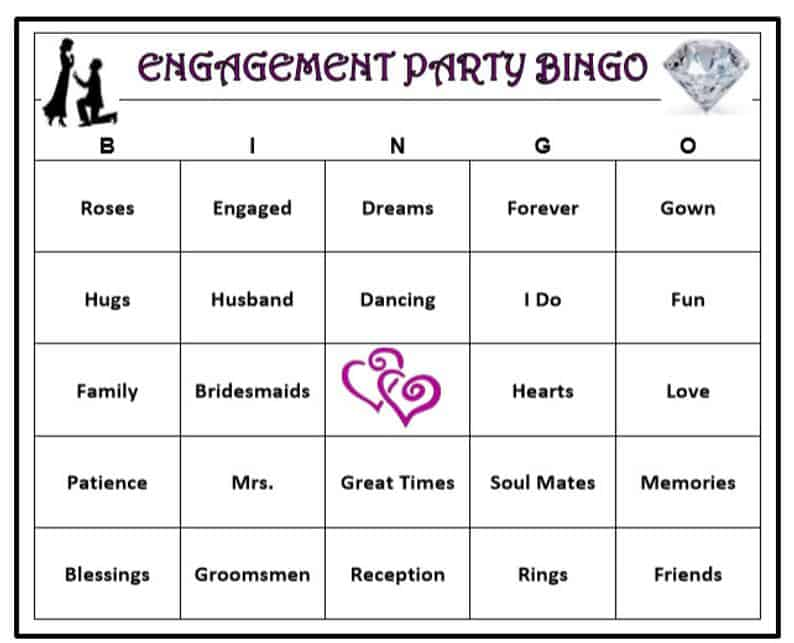 Engagement Party Bingo Game 60 Cards  Wedding Themed Bingo | Etsy
