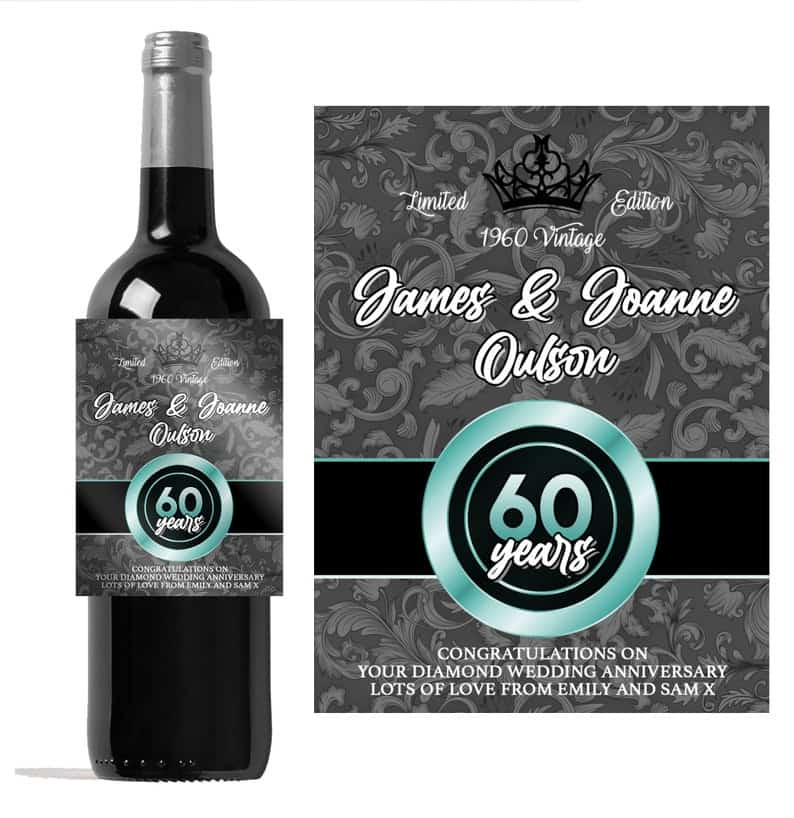 Personalised 60th Diamond Wedding Anniversary wine bottle | Etsy