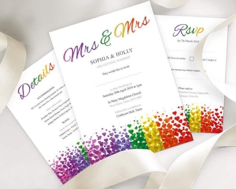 Lesbian Wedding Invitation Set Mrs & Mrs Details Card Rsvp Set | Etsy