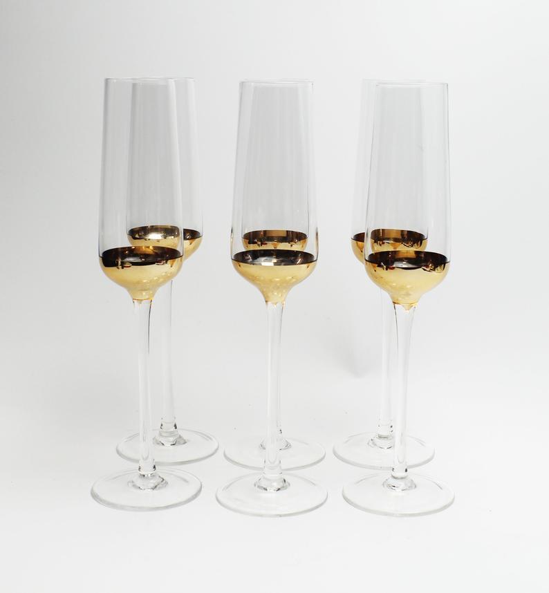 Set of 6 Designer Champagne Glass Flutes | Etsy