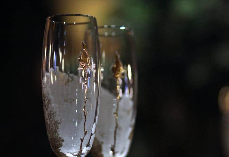 Wedding Champagne Flutes With Gold Rose Personalized Elegant | Etsy