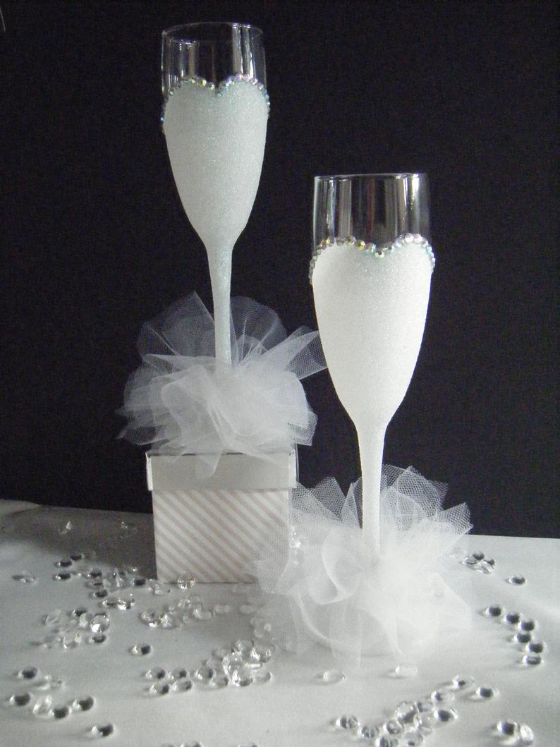 Glittered Fishtail Bride amd Bride Champagne Flutes. | Etsy