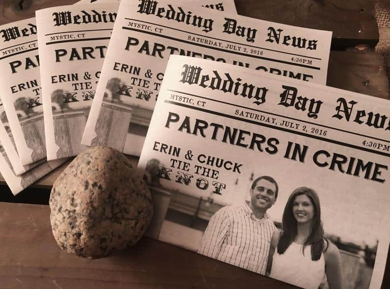 Newspaper microwedding nvitations