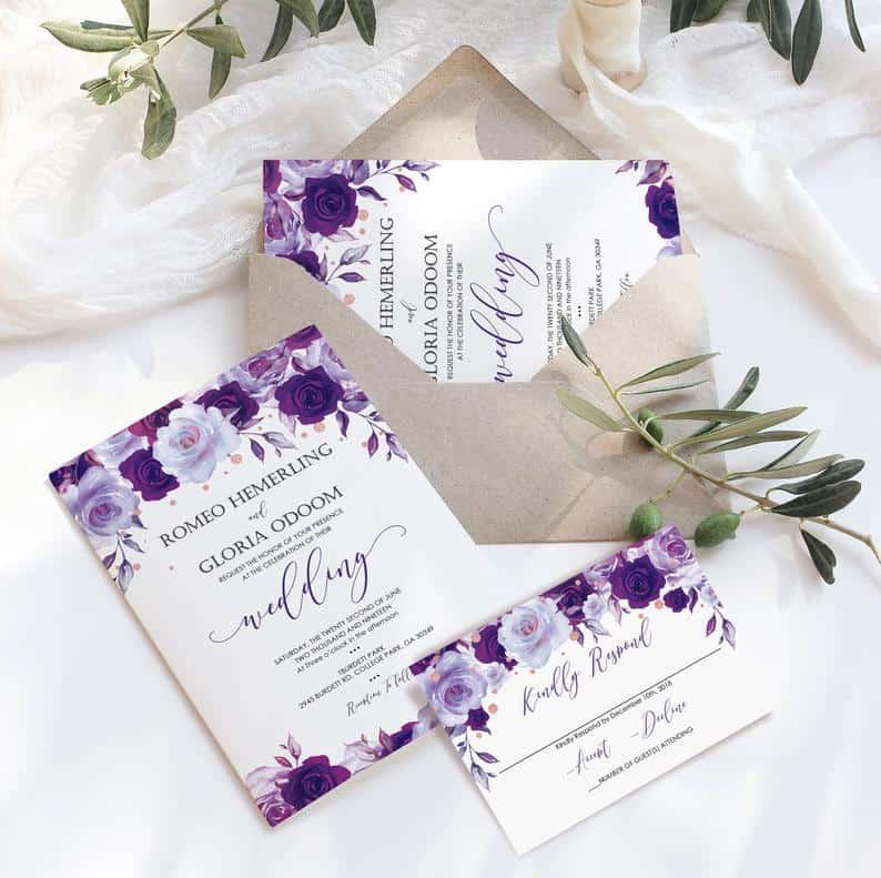 Purple and Lavender Minimony Invitations