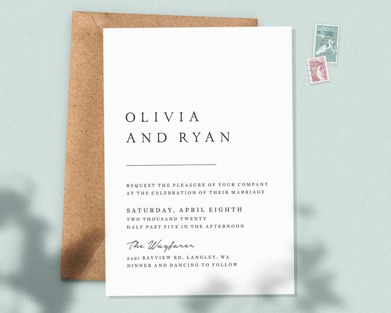 Minimalist invitations