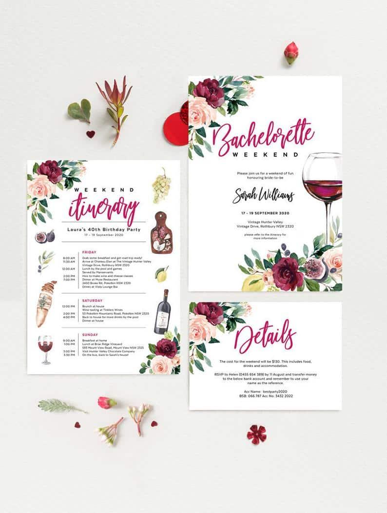 Wine Tasting virtual bachelorette party Invitations