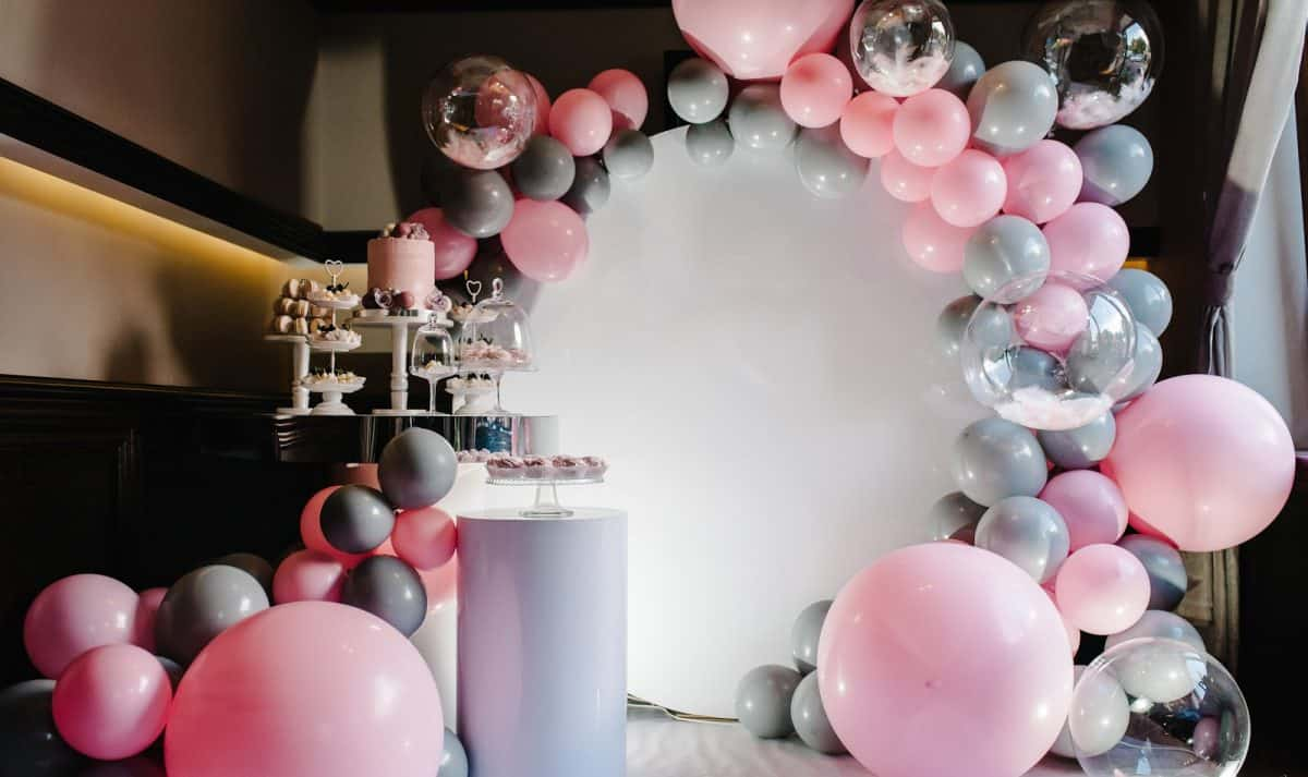 pink and gray balloons for virtual wedding backgrounds