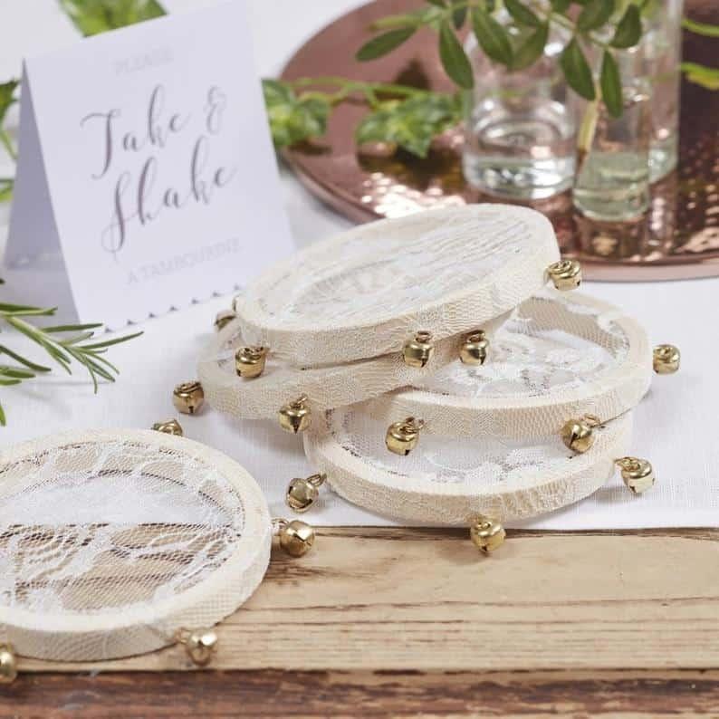 5 Mini Tambourines Confetti Alternatives Flower Girl | Etsy