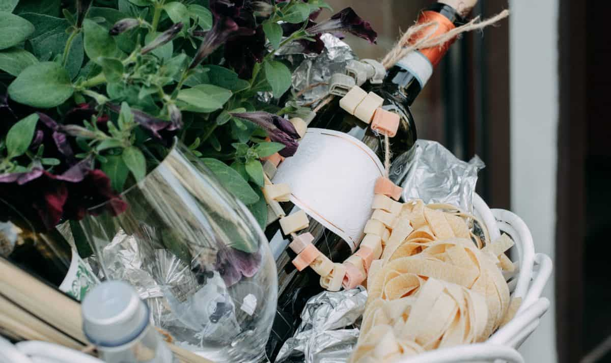 gift basket with champagne for virtual wedding guests