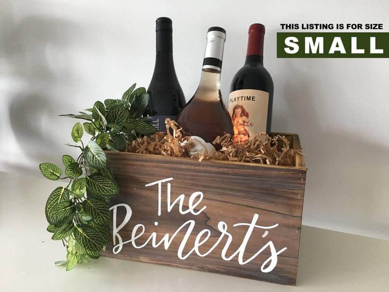 Personalized Calligraphy Wooden Wine Box Basket