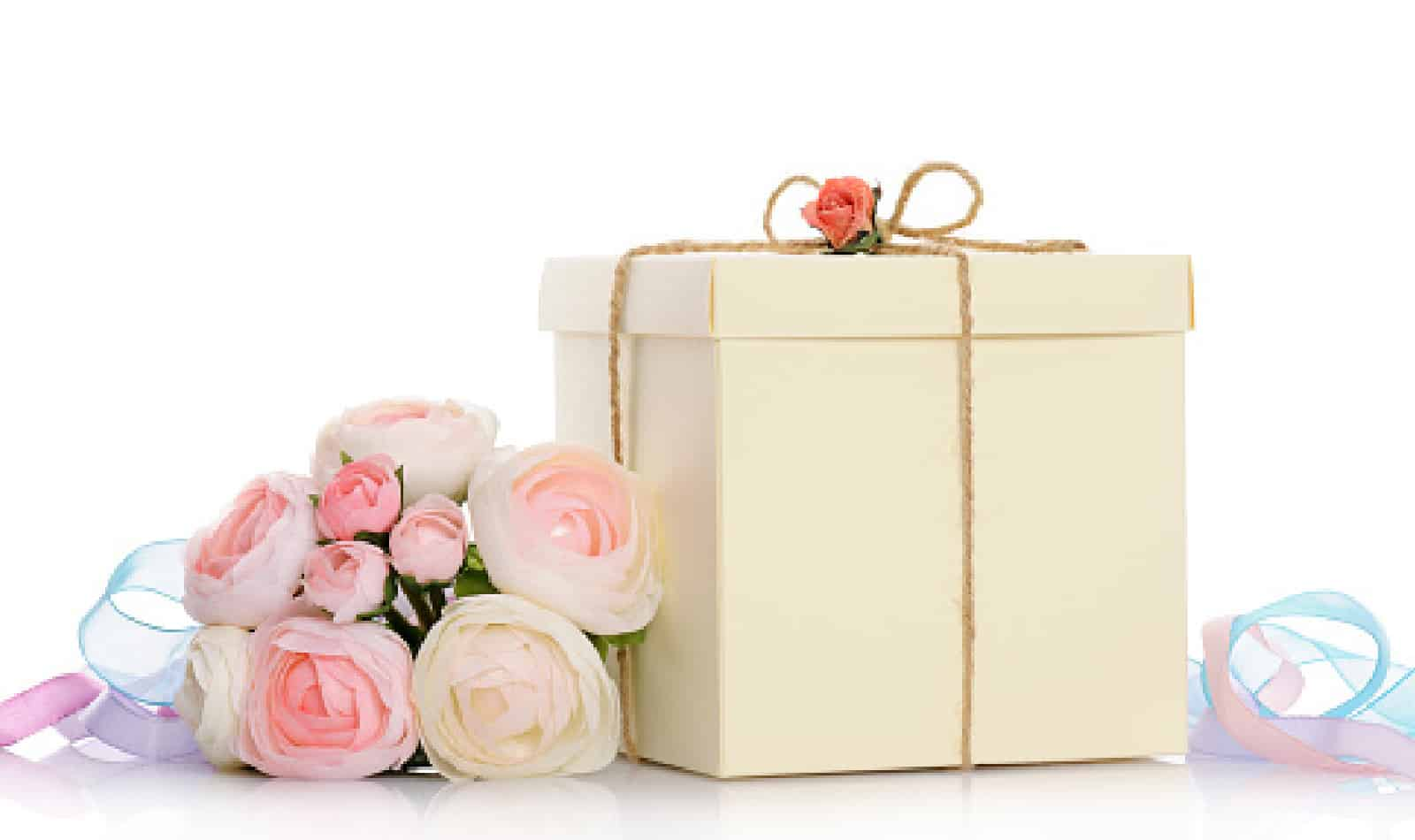 gift with floral decoration on white backgroun