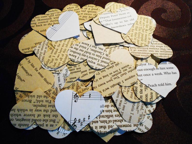 vintage lesbian wedding heart confetti