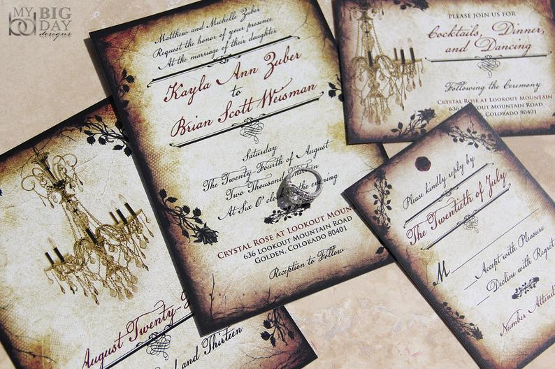 Vintage Romance wedding invitation set. Parchment and rose | Etsy