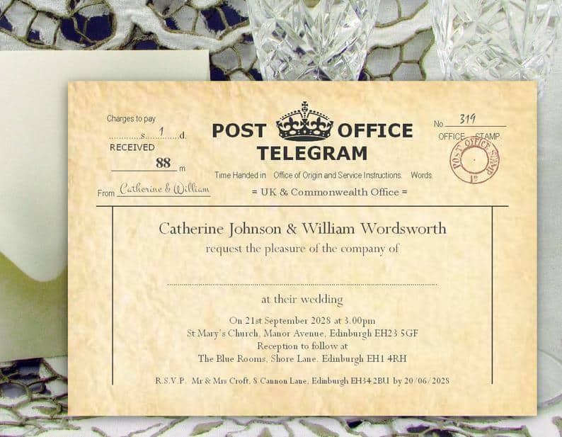 Telegram Printed with your wedding details