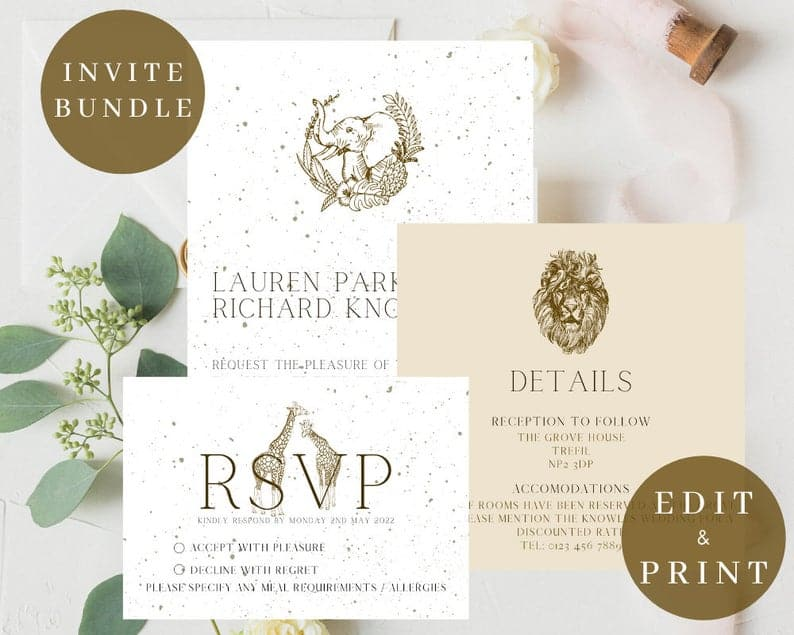 White and Golden Safari Invitations