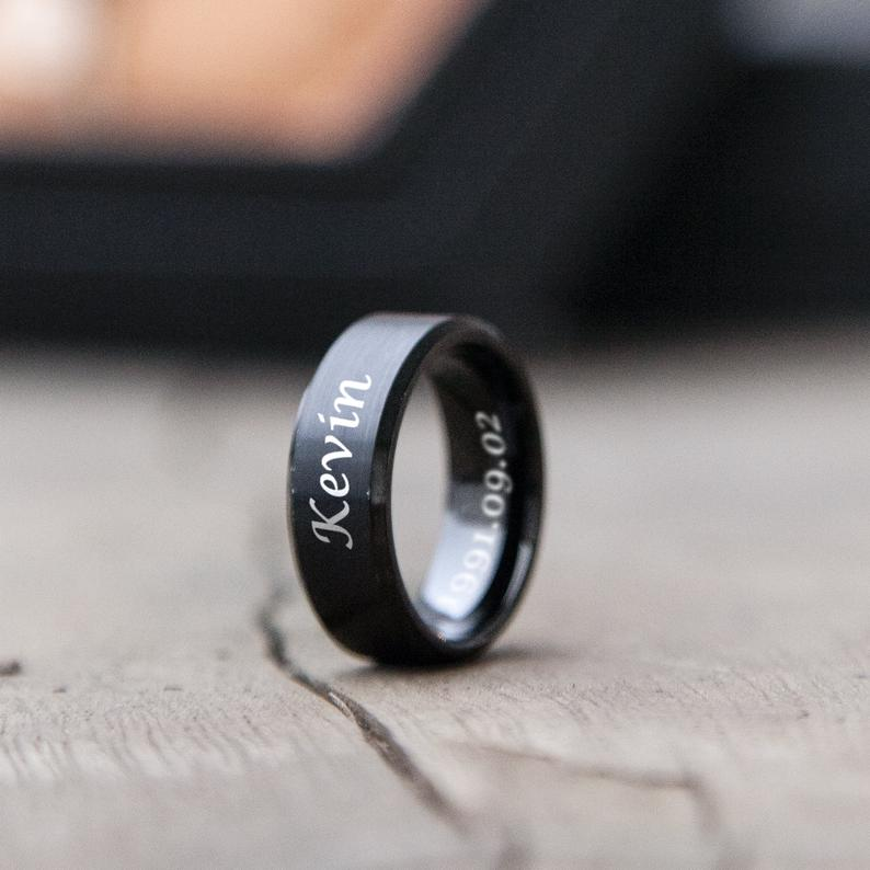 Man Black Ring  Sigature Engraved Ring  Birthday gift Ideas | Etsy