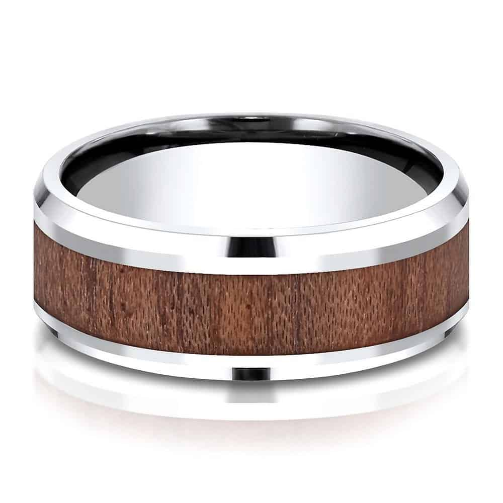 Men's Rosewood Inlay Band in White Cobalt, 8MM | Helzberg Diamonds