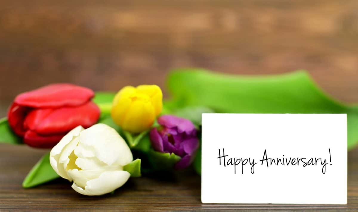 Happy Anniversary card and tulips