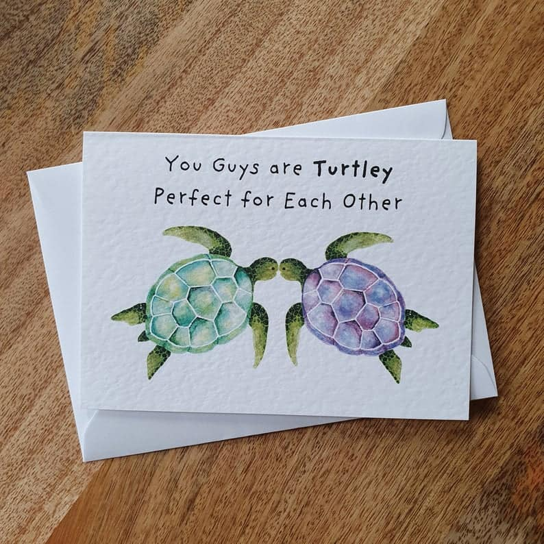 """Turtley Perfect for Each Other"" Card"