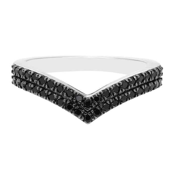 Black Diamond Chevron Ring in Sterling Silver