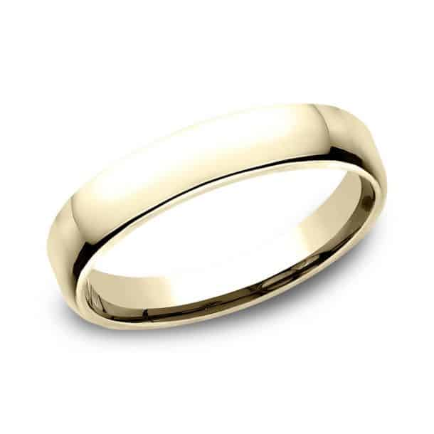 Benchmark Yellow Gold European Comfort Fit Wedding Band, 4.5mm