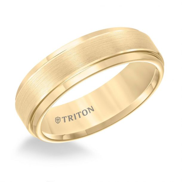 yellow tungsten  wedding rings for construction workers