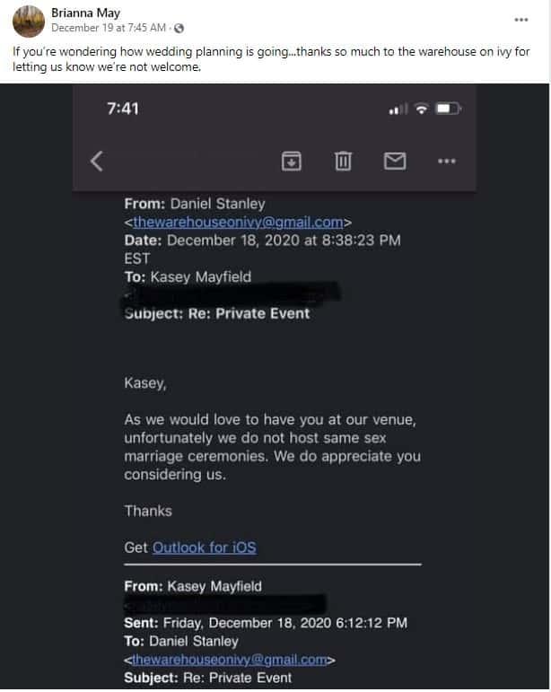 Facebook screenshot of venue refusing same-sex wedding