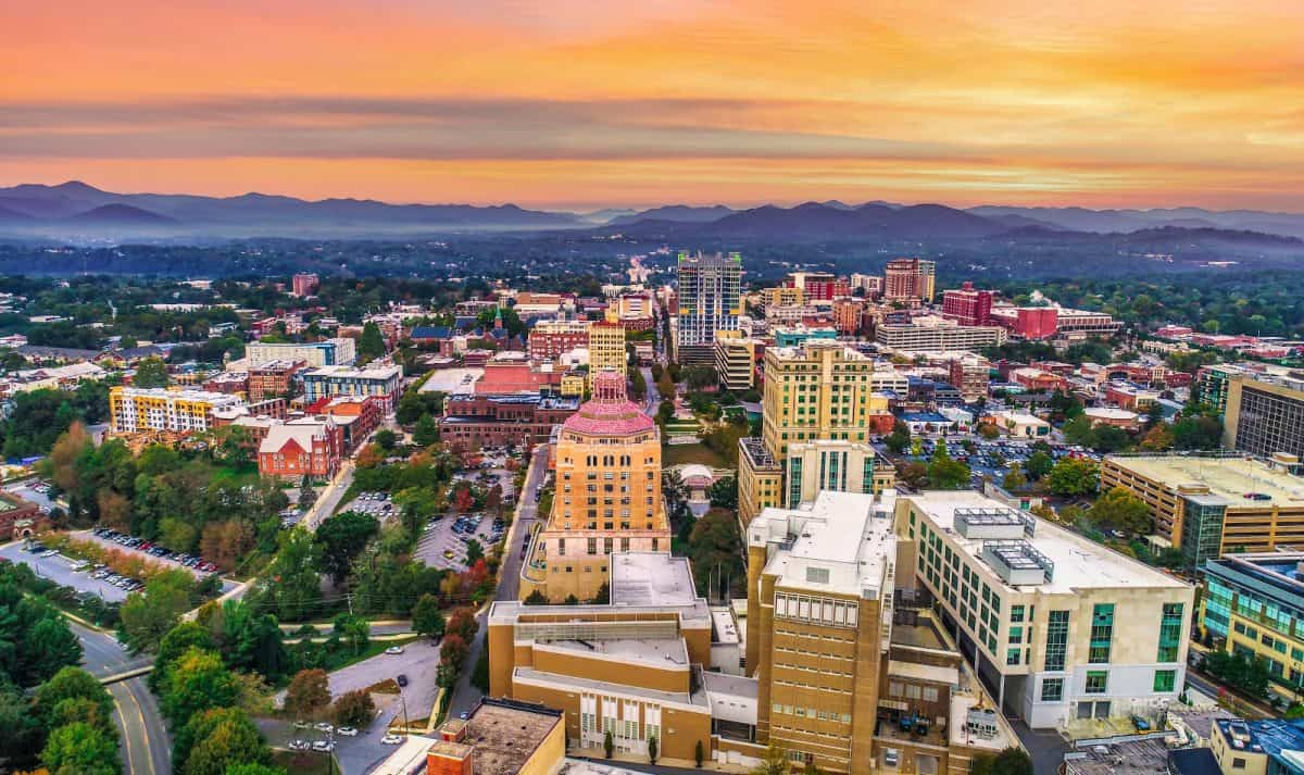 Downtown Asheville North Carolina NC Skyline Aerial.