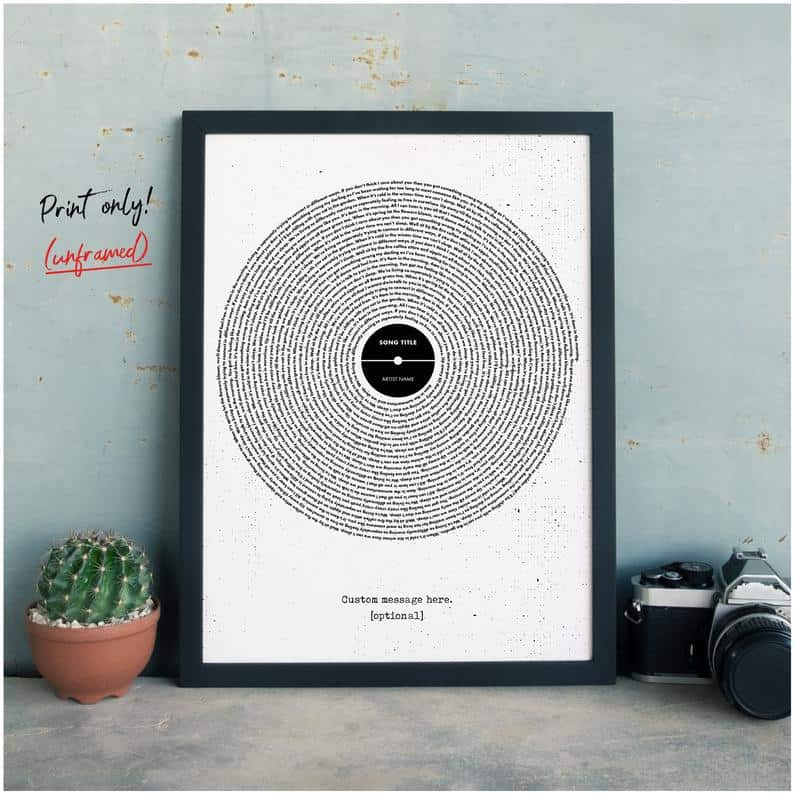 Custom Vinyl Lyrics Print Personalised Typography Poster | Etsy