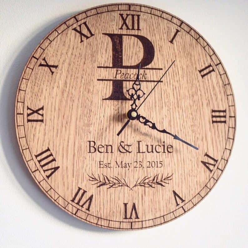 Personalised Wedding Anniversary Date Monogram Clock