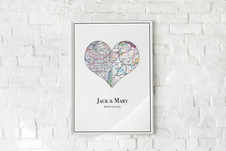 Personalized Couple's Map