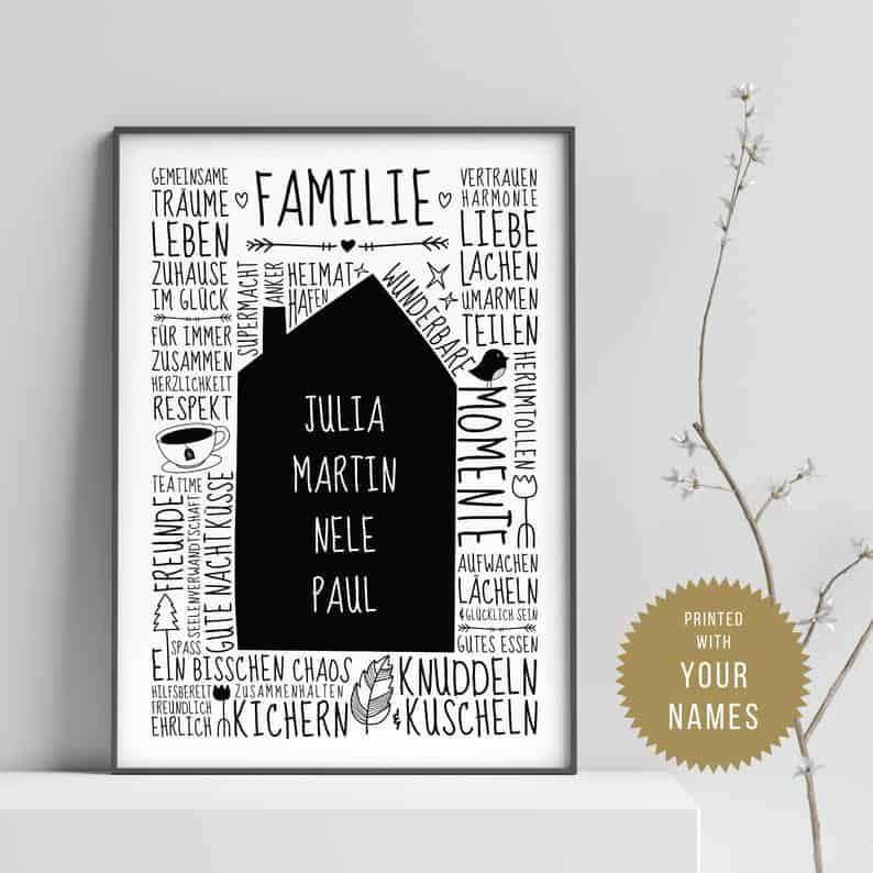 Our little home DE // Family poster with name Personalised | Etsy