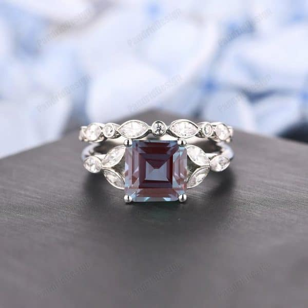 Asscher 8mm Alexandrite Wedding Ring Set,Bridal Sets, Women's Ring,3.0CT Engagement Ring Set, Solid Gold Proposal Ring,Gemstone Ring Jewelry