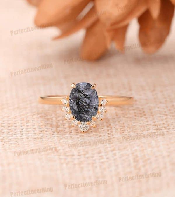 14K Solid Gold Gemstone Ring/ 6x8mm Oval Shape Natural Black Rutilated Quartz Ring/ Custom Made Engagement Ring/ Special Design Bridal Ring