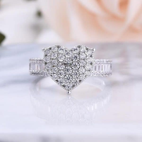 Heart Shaped Brilliant Cut Moissanite Diamond Cluster Engagement Ring In Solid 14k White Gold, Forever One Moissanite Diamond Ring