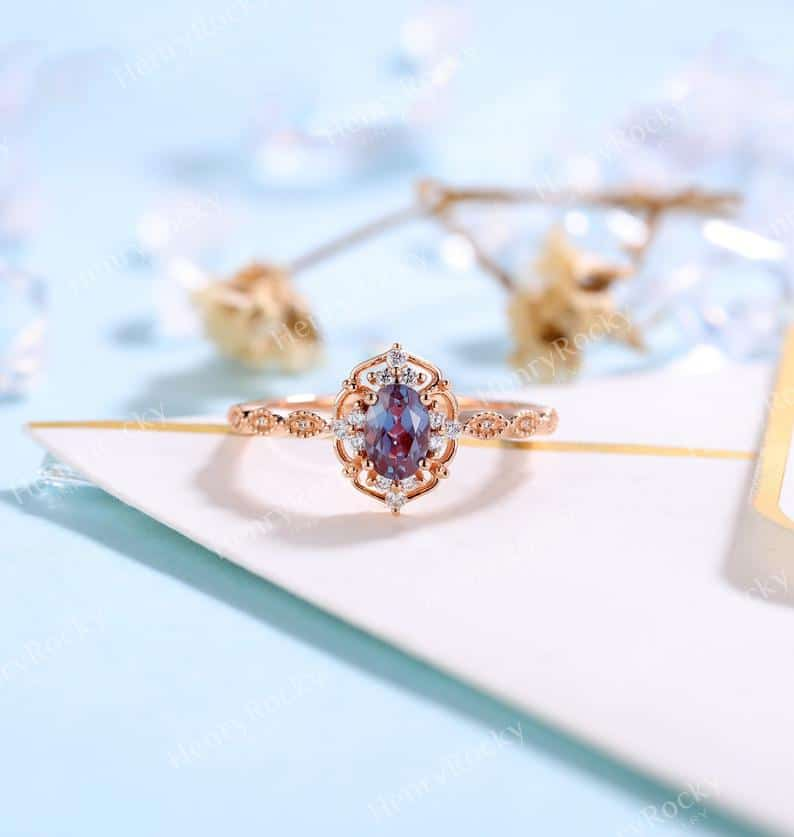 Vintage Alexandrite Engagement Ring Rose Gold wedding Ring  | Etsy