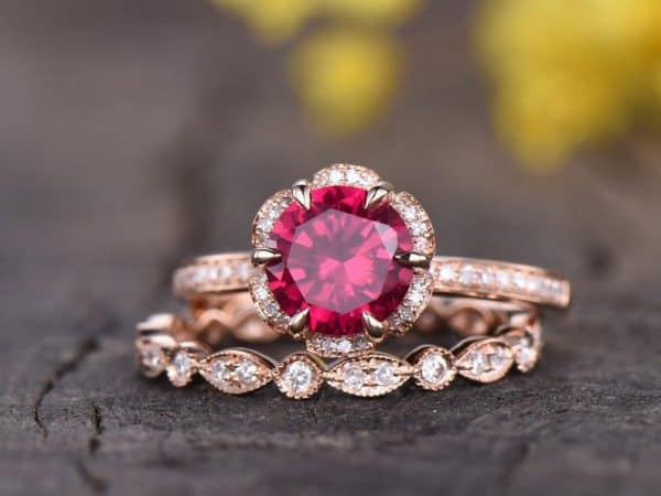 gorgeous ruby and diamond ring with rose gold