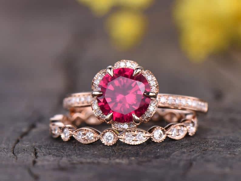 Ruby Engagement Ring Set Rose Gold Vintage Antique Floral Halo | Etsy