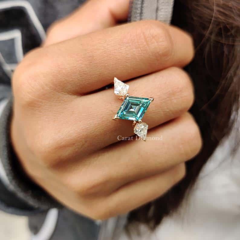 Elegant Three-Stone Kite Cut Engagement Ring  2.54 CT Lozenge | Etsy