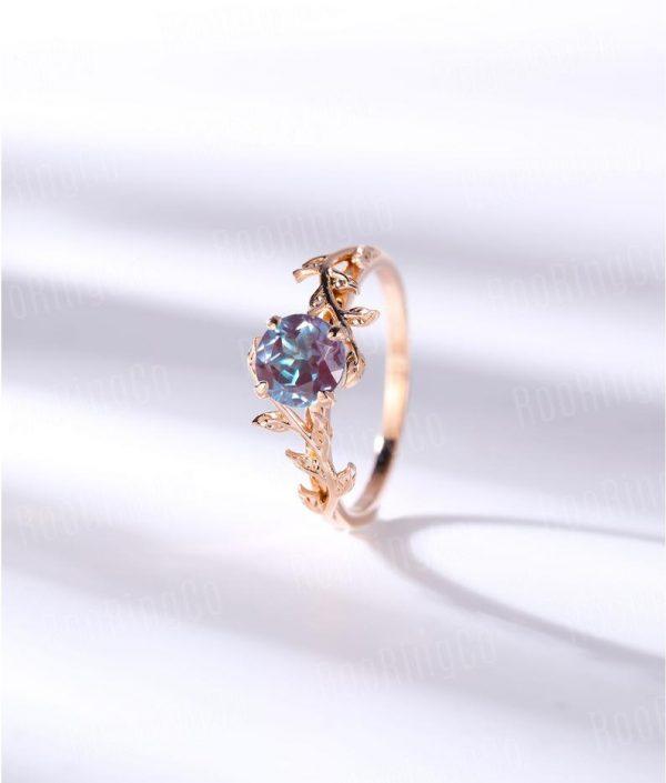 Vintage Alexandrite engagement ring leaf flower ring alternative ring rose gold ring art deco promise ring prong set unique wedding rings