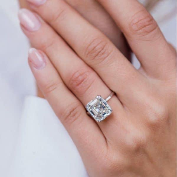 An asscher silver ring