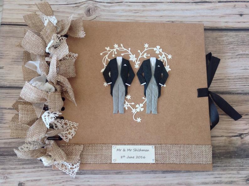 Same Sex Wedding, Gay Wedding, Two Grooms, Gay Pride, civil partnership photo album, scrapbook, guestbook.