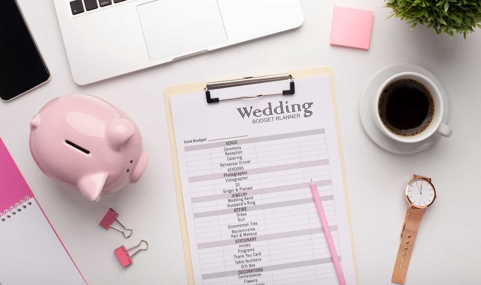 Wedding budget planner for keeping track of finances
