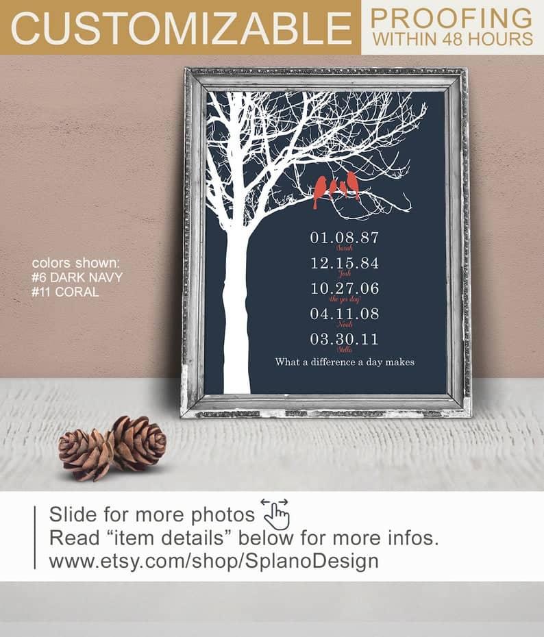 . Wedding Date Tree Art