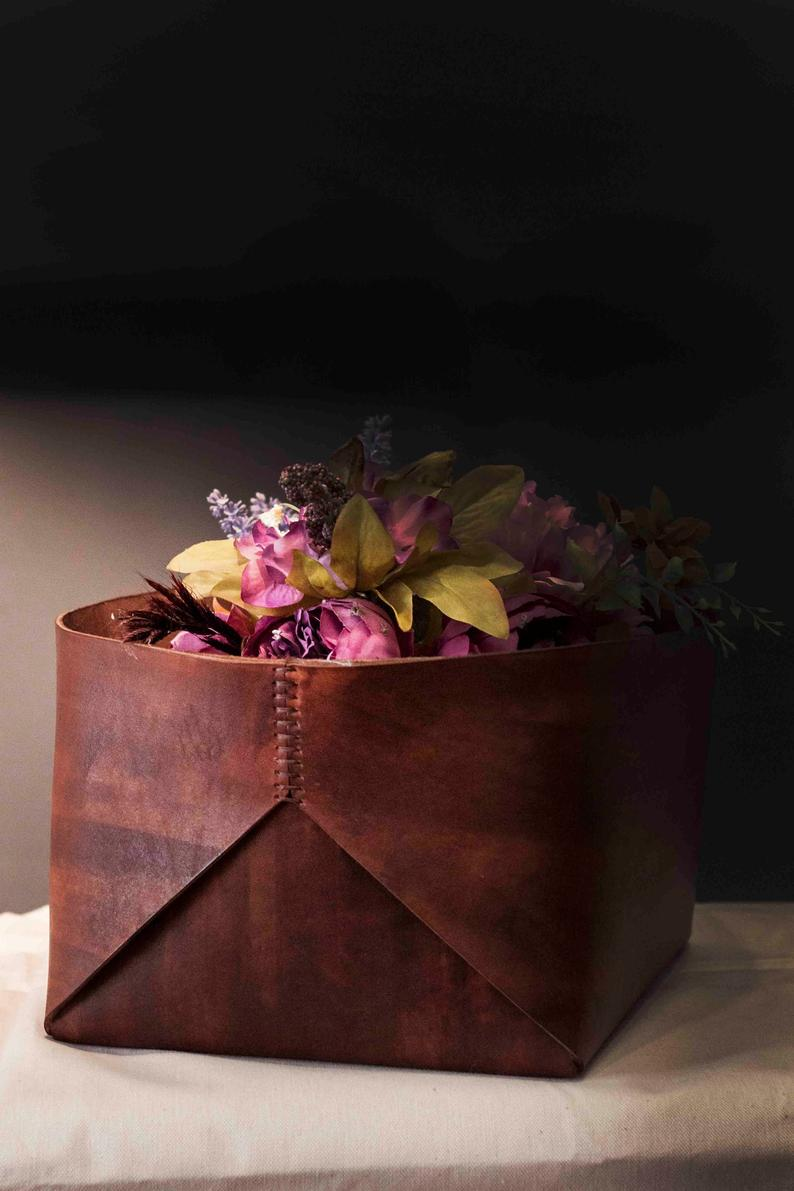 Large Leather Basket Home and Living Leather Box Leather   Etsy
